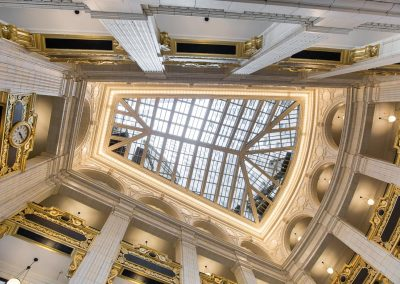 <strong>David Whitney Building</strong> <em>Detroit, MI</em> Originally built in 1914, this 19-floor building underwent renovations in 2011. A main focal point to this $82 million renovation was a new skylight illuminating the classically inspired interior.