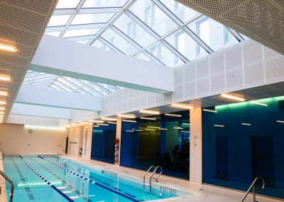 <strong>The Mercedes Club</strong> <em>New York, NY</em> One of New York's swankiest gyms, The Mercedes Club is an urban fitness oasi-of-the-art equipment for the city's most elite. Swimmers can enjoy views of the sky as they swim in the lap pool.